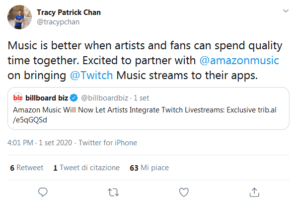 Twitter Amazon Music e Twitch